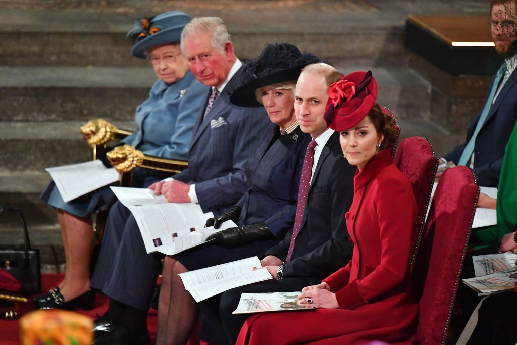 Queen Elizabeth II, Prince Charles, Camilla, Duchess of Cornwall, Prince William and Kate Middleton seated at Westminster Abbey, London, England, 2020. | Photo: Getty Images