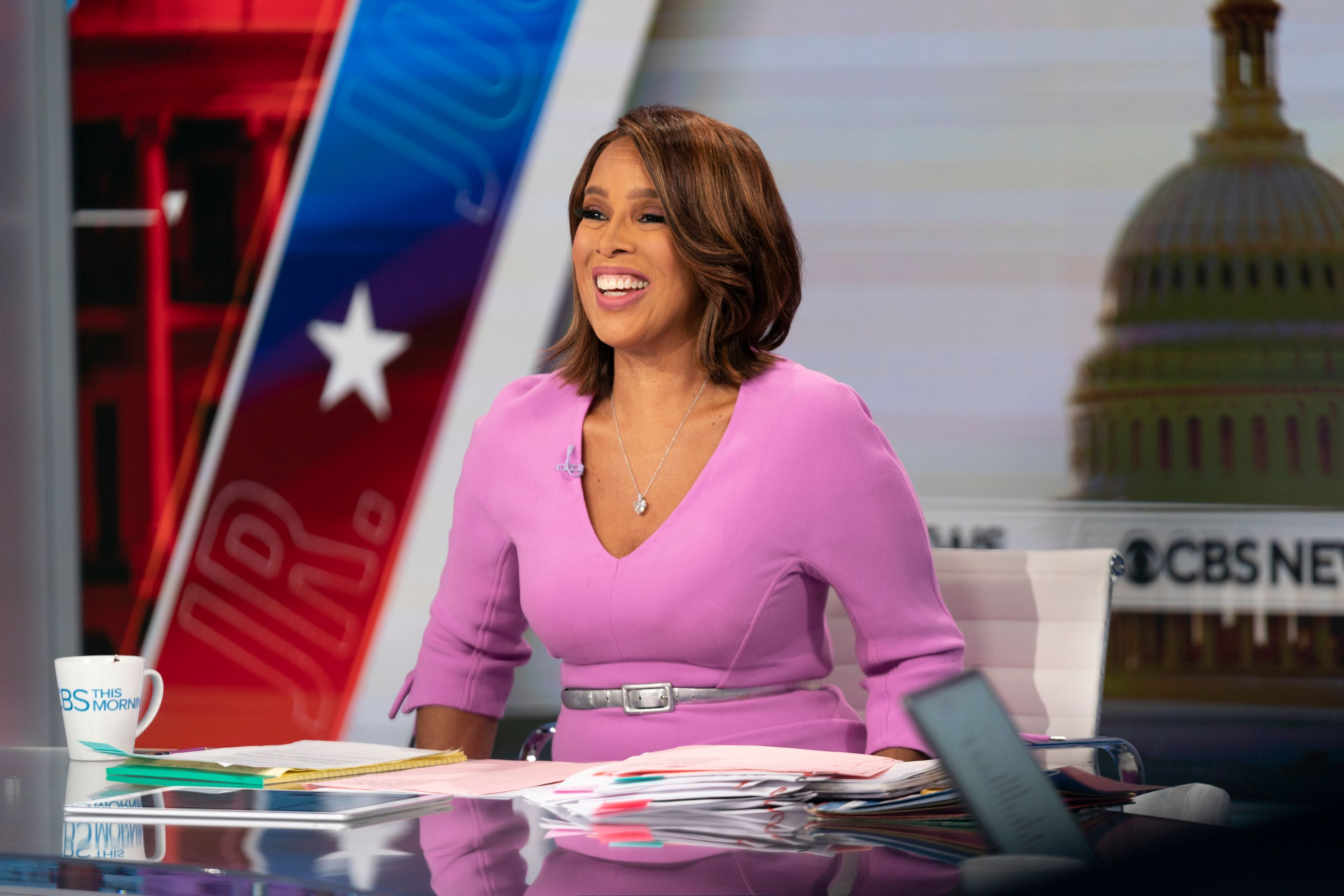 Gayle King broadcasts live from Washington DC on Inauguration Day 2021   Photo: Getty Images