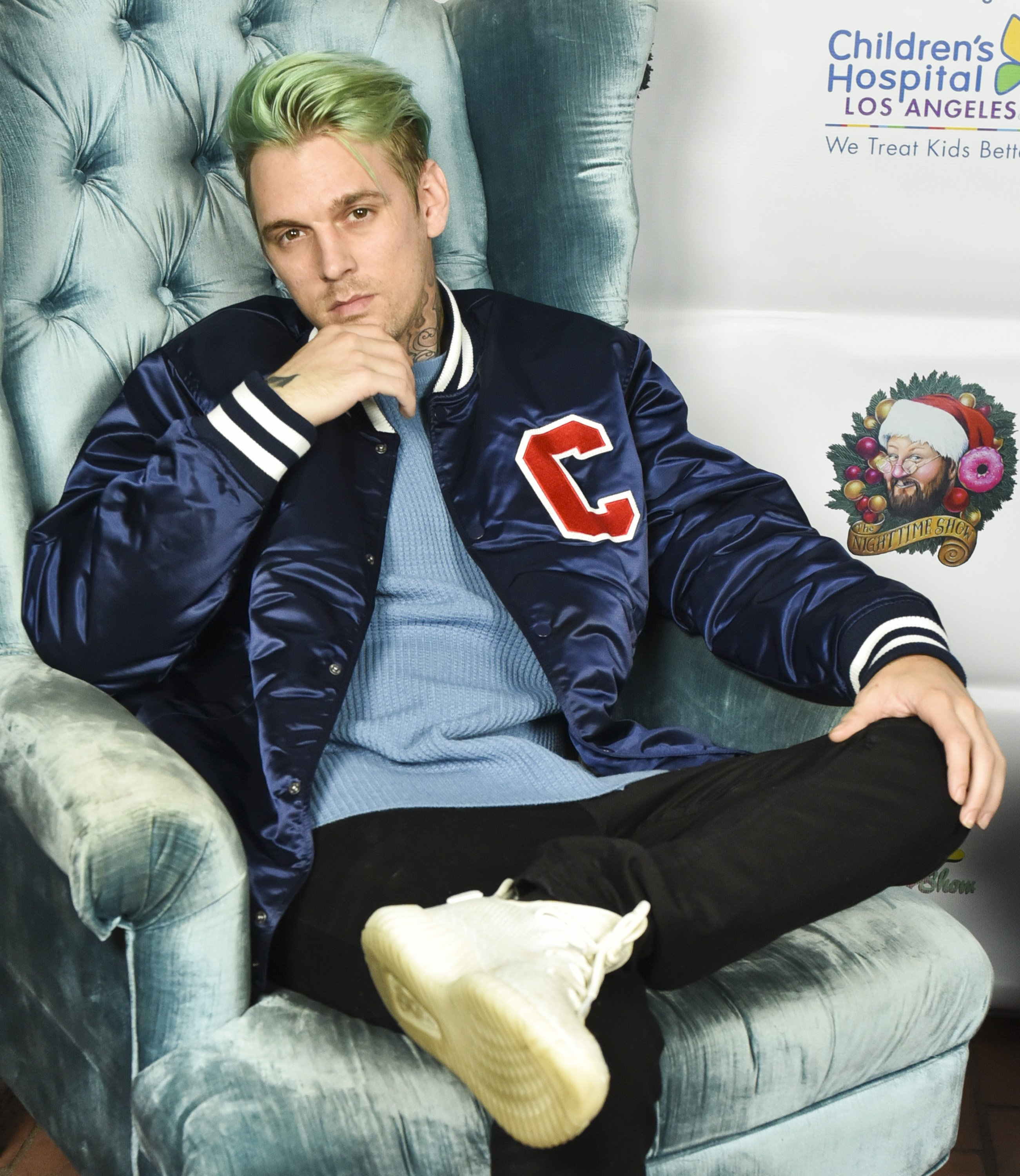 """Aaron Carter at """"The Night Time Show"""" Holiday Special on Dec. 16, 2017 in Hollywood, California 