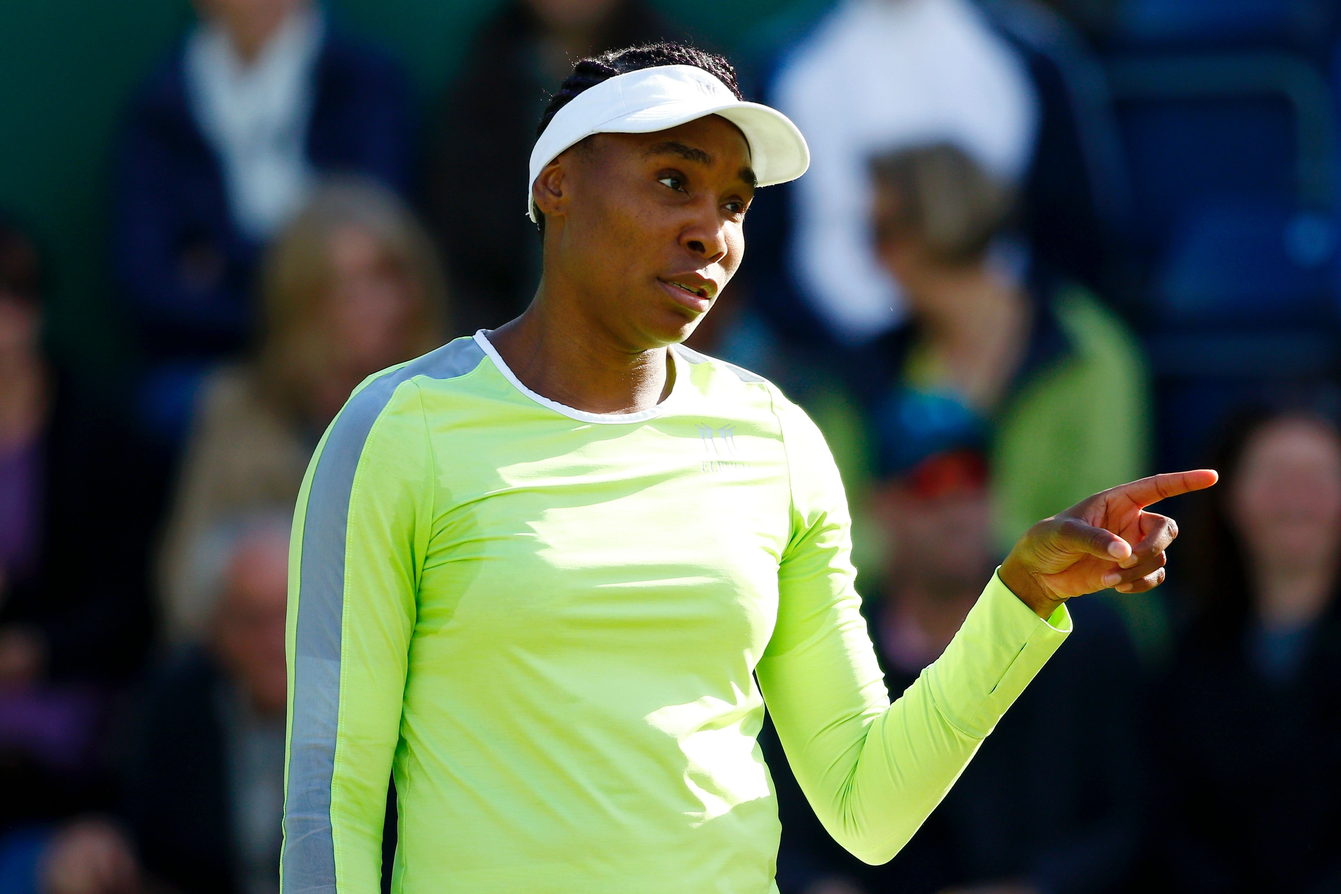 Venus Williams of the USA reacts during her second round match against Qiang Wang of China during day four of the Nature Valley Classic at Edgbaston Priory Club on June 20, 2019 | Photo: Getty Images