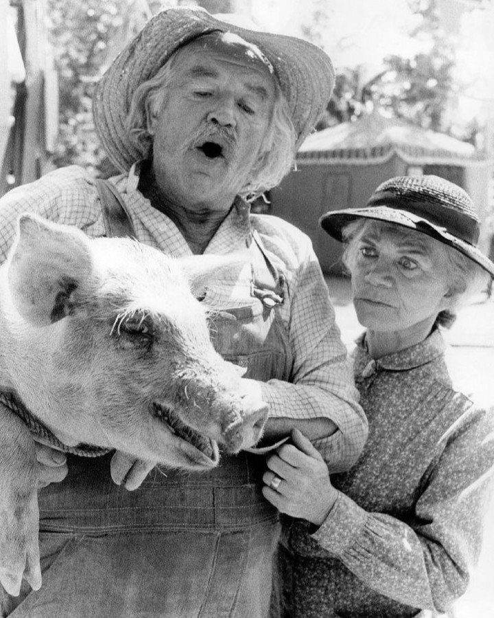 """Publicity photo of Will Geer and Ellen Corby as Grandpa and Grandma Walton from the television program """"The Waltons."""" 