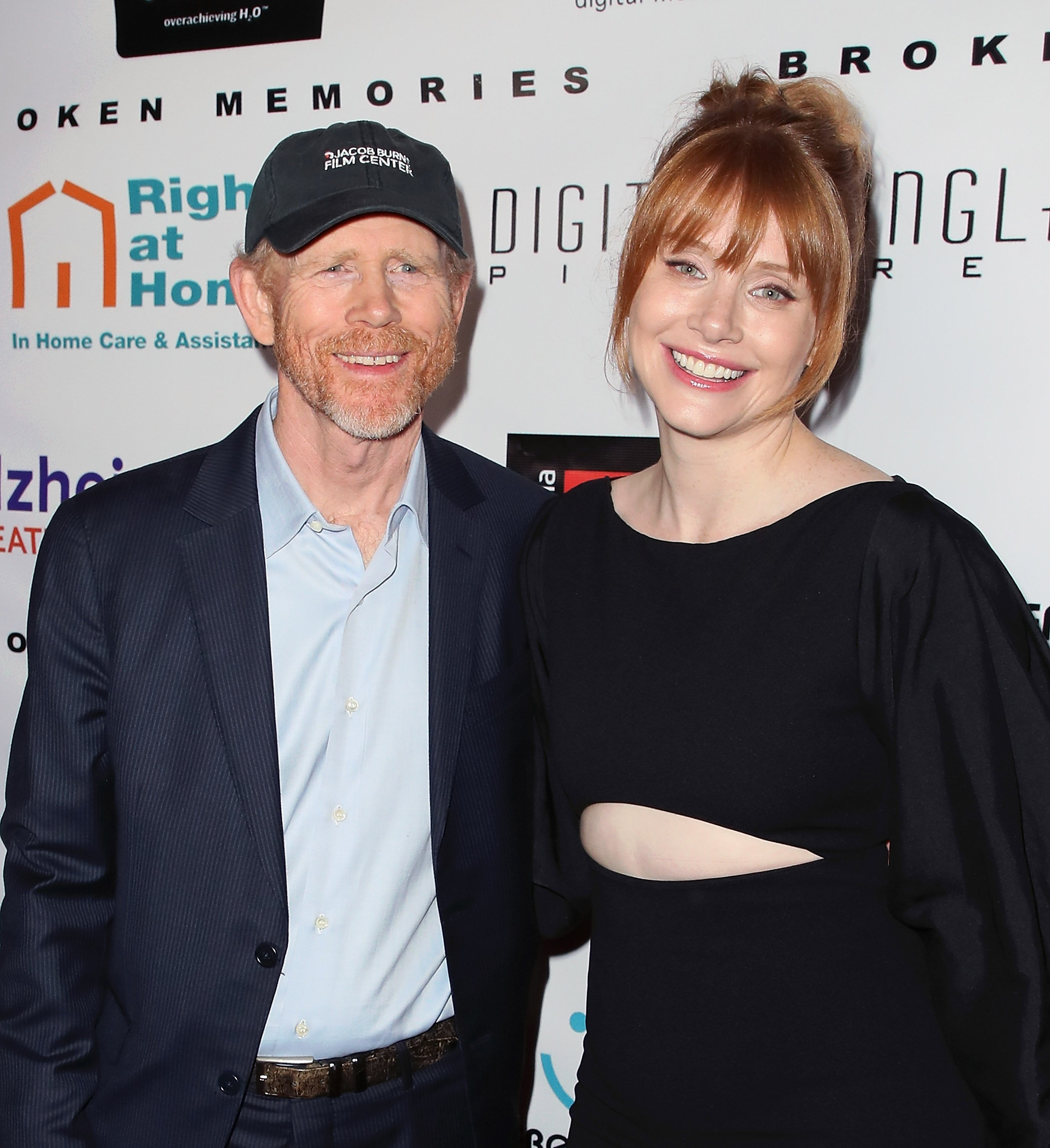 """Ron Howard and his daughter, Bryce Dallas Howard pictured at a benefit screening of Digital Jungle Pictures' """"Broken Memories,"""" 2017, California. 
