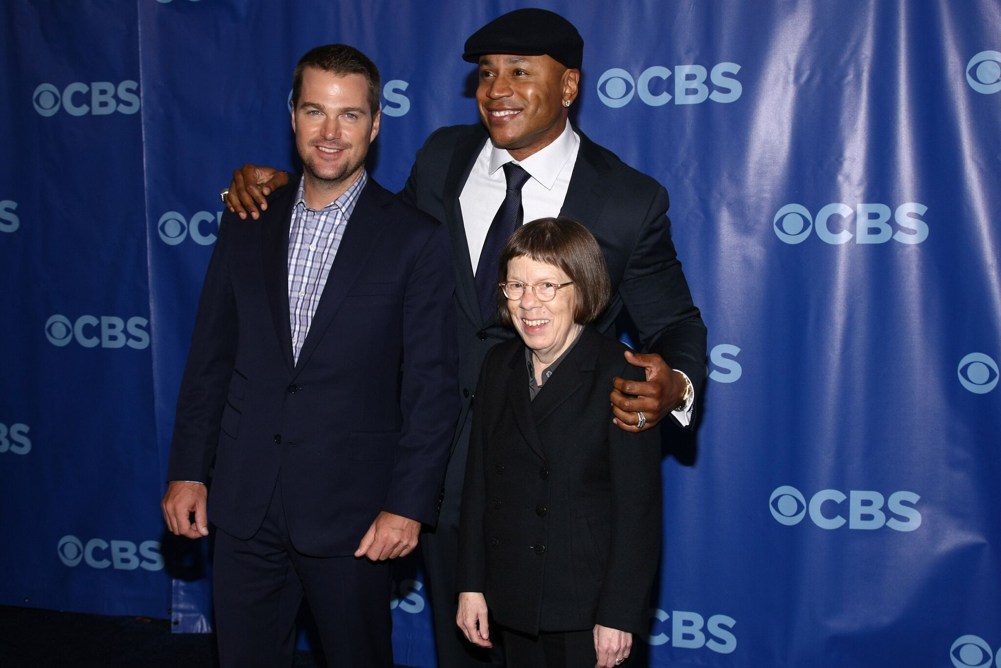 Chris O'Donnell, LL Cool J and Linda Hunt at the 2011 CBS Upfront at The Tent  | Getty Images