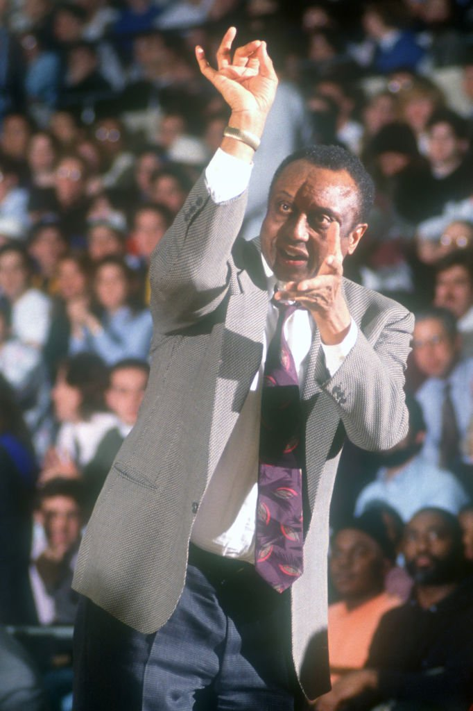 John Chaney in his coaching element during a college basketball game between Temple Owls and George Washington Colonial at the Smiths Center on February 27, 1991 in Washington, DC.   Photo: Getty Images