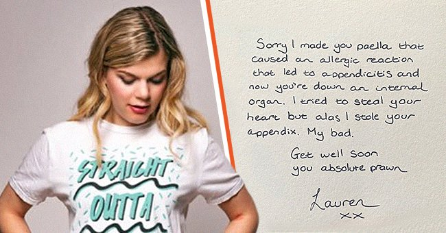 Comedian Lauren Pattison and the note she wrote for her date.   Source: twitter.com/laurenpattison