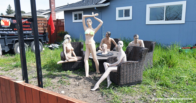 Man Installs Naked Mannequins in Yard as Revenge for a Neighbor Who Forced Him to Shorten a Fence
