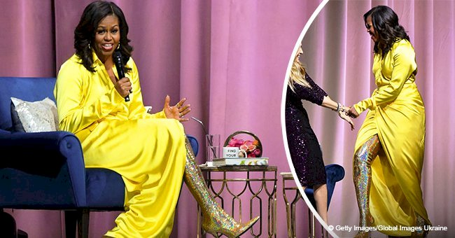 Michelle Obama steals the show in $4K thigh-high glittery boots & matching Balenciaga gown in pics