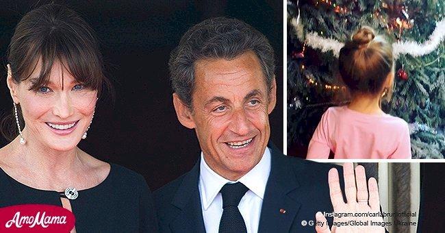 Carla Bruni-Sarkozy partage une vidéo de sa fille qui ne peut pas quitter des yeux un énorme arbre de Noël