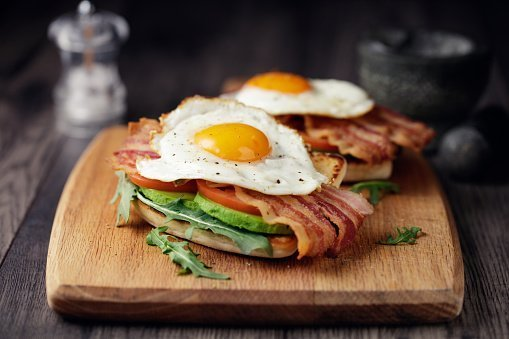 Home made bacon,fried egg with avocado ,tomato and rocket leaves on fried soda bread | Photo:Getty Images