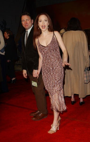 "John Ritter and Amy Yasbeck attend ""The ABC All-Star Party"" at Quixote Studios on January 15, 2003, in Hollywood, California.