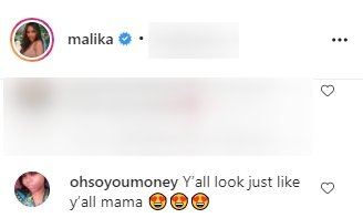A fan's comment under a post made by Malika Haqq on her Instagram page | Photo: Instagram/malik