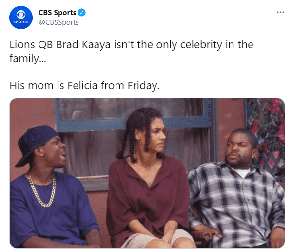 """A picture of Angela Means as """"Bye Felicia,"""" in famous 90s cult classic """"Friday."""" │ Photo: Twitter/cbssports"""