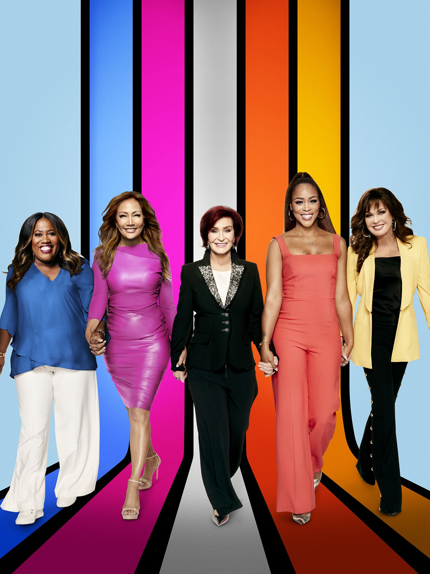 "Sheryl Underwood, Carrie Ann Inaba, Sharon Osbourne, Eve Cooper, and Marie Osmond, the hosts of ""The Talk."" Photo taken on September 04, 2019 