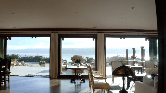 Pierce Brosnan and Keely Brosnan's Malibu mansion: view from the living room   Photo: YouTube/Architectural Digest