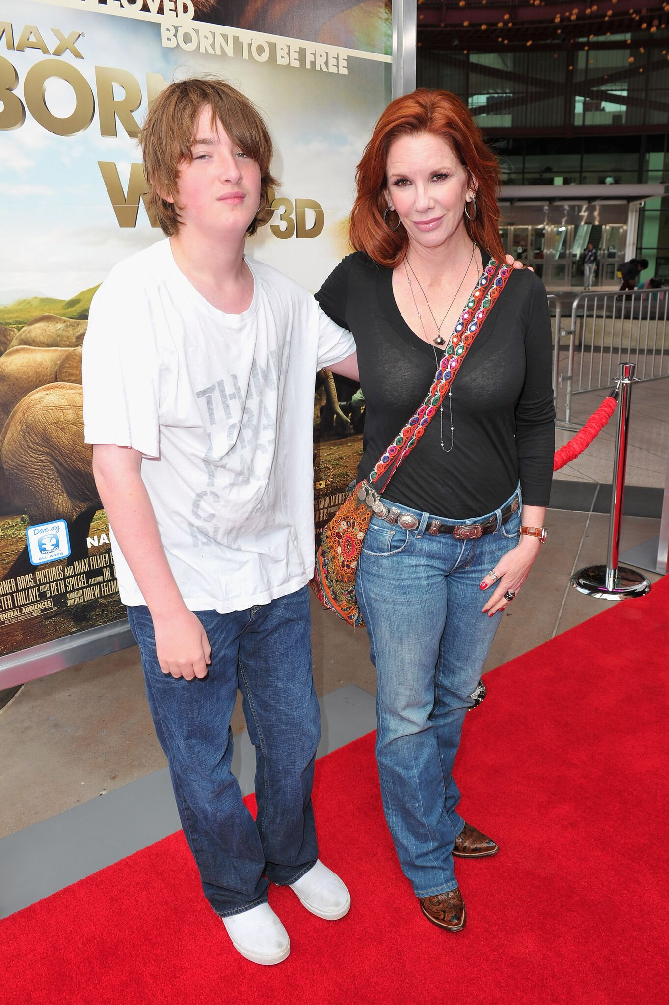 "Melissa Gilbbert (R) and son Michael Boxleitner arrive to the premiere of Warner Bros. Pictures' ""Born To Be Wild 3-D"" 