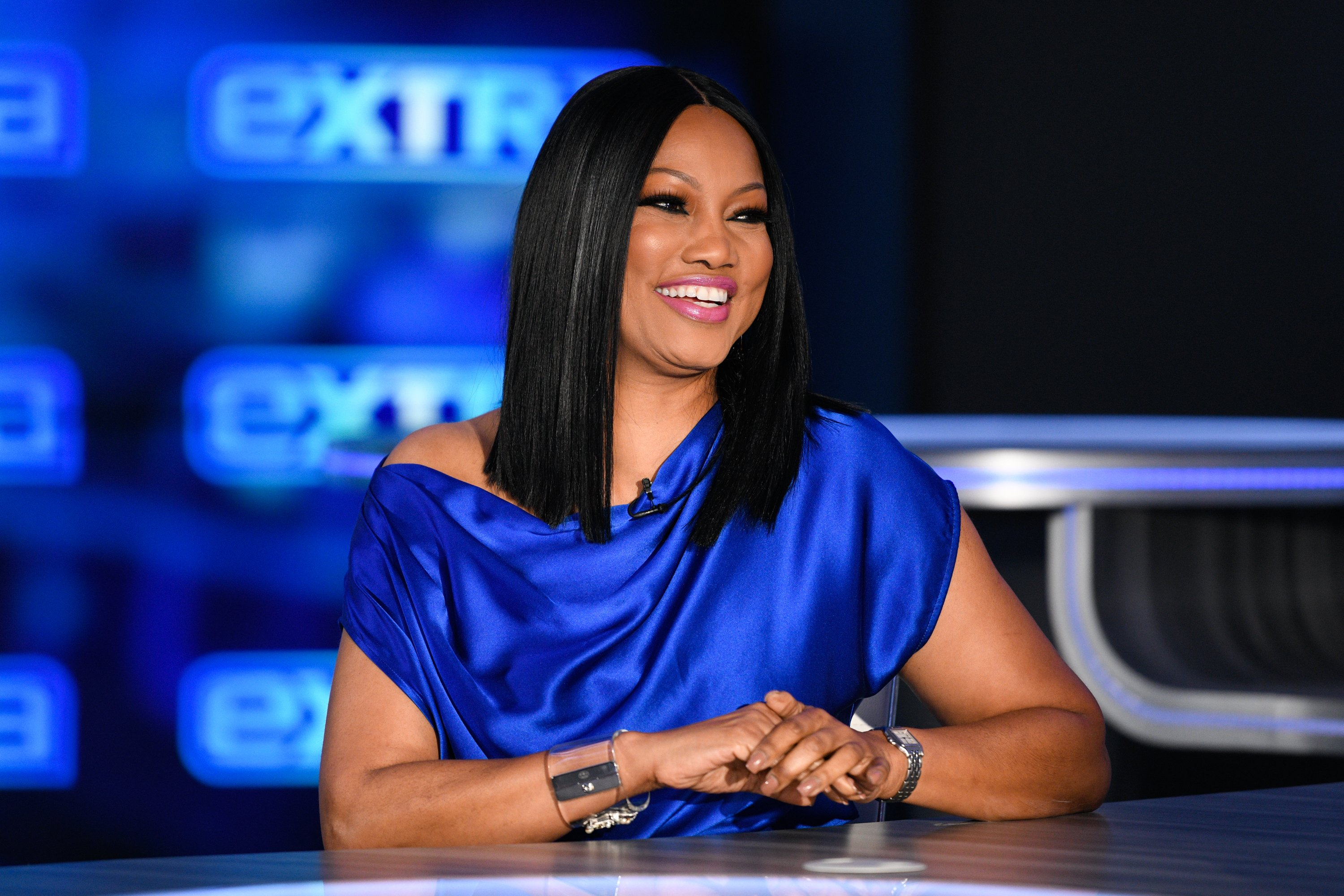 "Garcelle Beauvais visits ""Extra"" at Burbank Studios on November 26, 2019 in Burbank, California. 