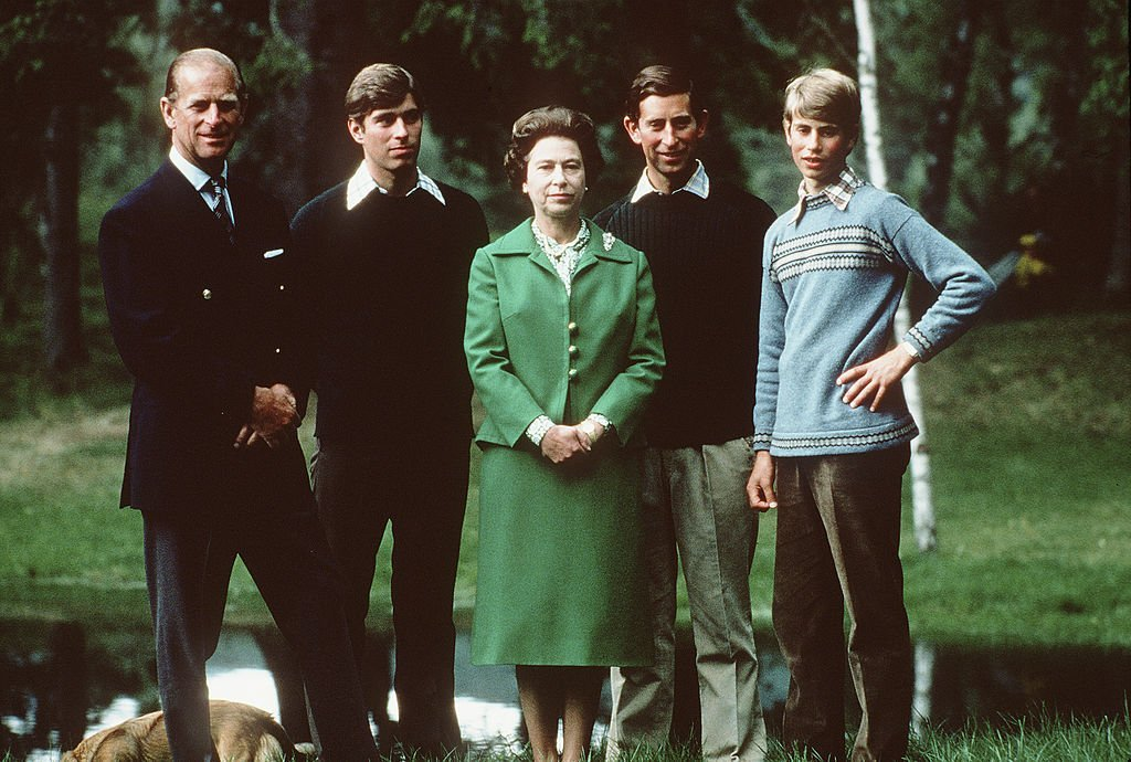 Queen Elizabeth II with her husband Prince Phillip the Duke of Edinburgh, and her three sons, the Prince Andrew the Duke of York, Prince Charles the Prince of Wales and Prince Edward the Earl of Wessex on holiday in Balmoral, Scotland in 1975. | Source: Getty Images.