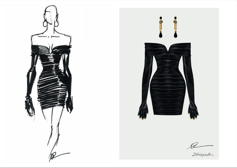Sketch of Beyoncé's black mini leather dress which was designed by Schiaparelli Haute Couture | Photo courtesy of Schiaparelli Haute Couture