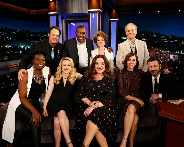 """Casts of """"Ghostbusters"""" Melissa McCarthy, Kristen Wiig, Kate McKinnon and Leslie Jones on """"Live with Jimmy Kimmel.""""   Photo: Getty Images"""