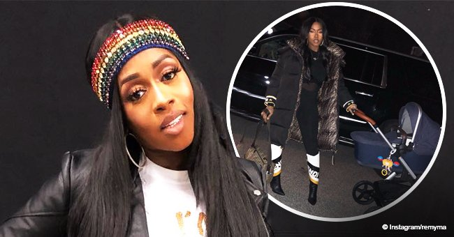 Remy Ma flaunts post-partum curves in tight black outfit, taking her newborn daughter for a walk