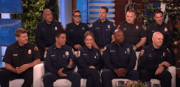 Ten of the California firefighters join Ellen DeGeneres on her talk show on November 6, 2019. | Source: YouTube/TheEllenShow.