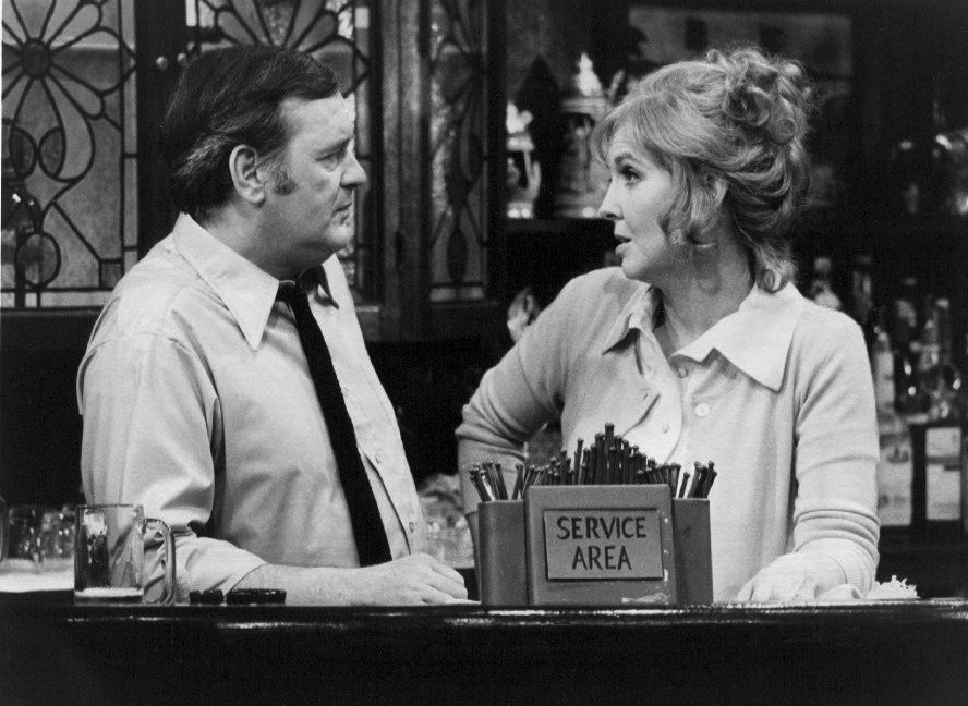 "Eugene Roche as Frank Flynn and Anne Meara as Mae from the television program ""The Corner Bar."" 