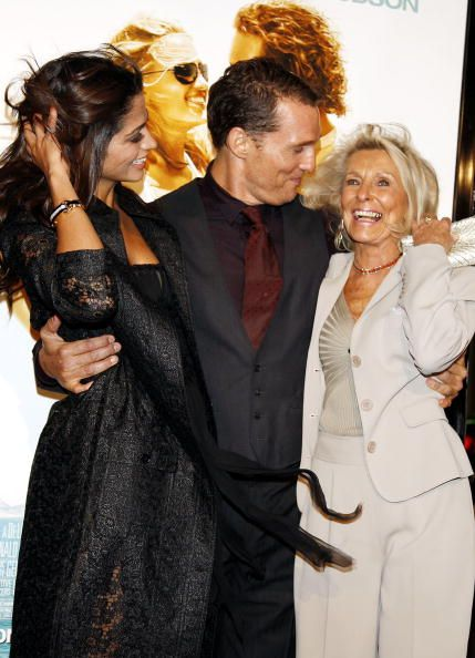 "Matthew McConaughey his wife Camila Alves, and his mother Kay at the premiere of ""Fool's Gold""  in 2008 