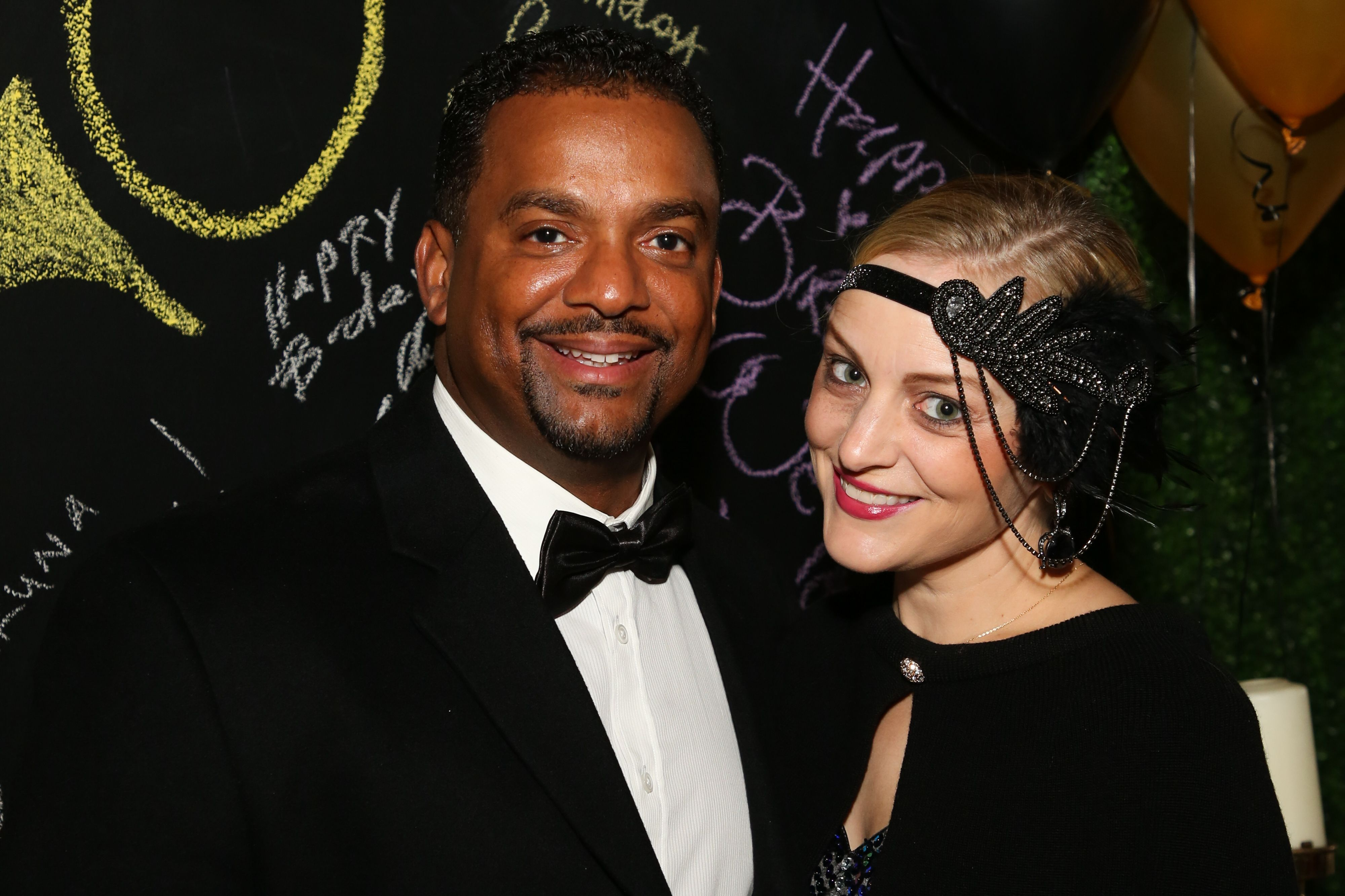 Actor Alfonso Ribeiro and his wife Angela Unkrich attend the birthday celebration of Keo Motsepe on November 30, 2019. | Photo: Getty Images