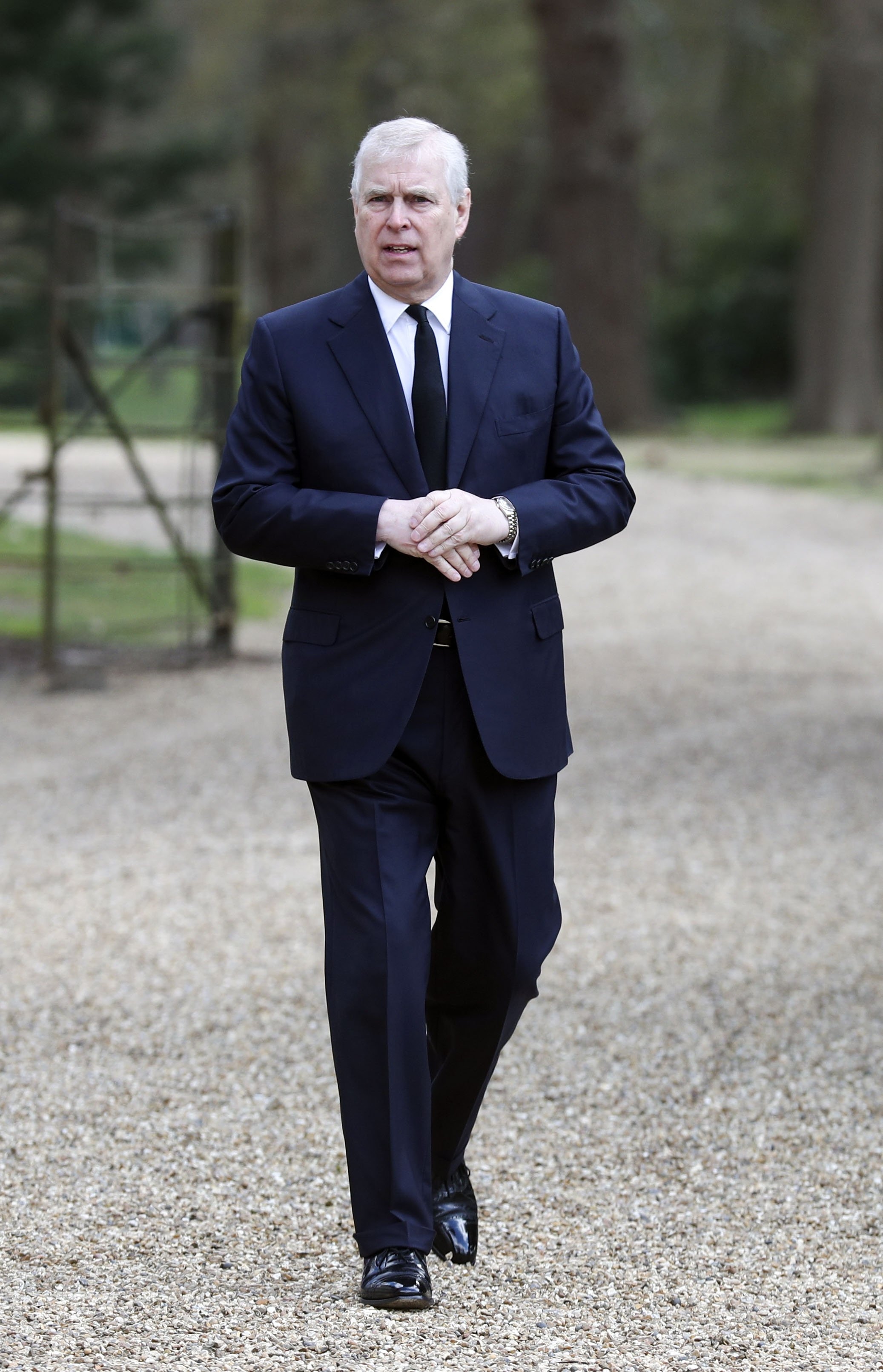 Prince Andrew, Duke of York, attends the Sunday Service at the Royal Chapel of All Saints on April 11, 2021 in Windsor, England | Photo: Getty Images