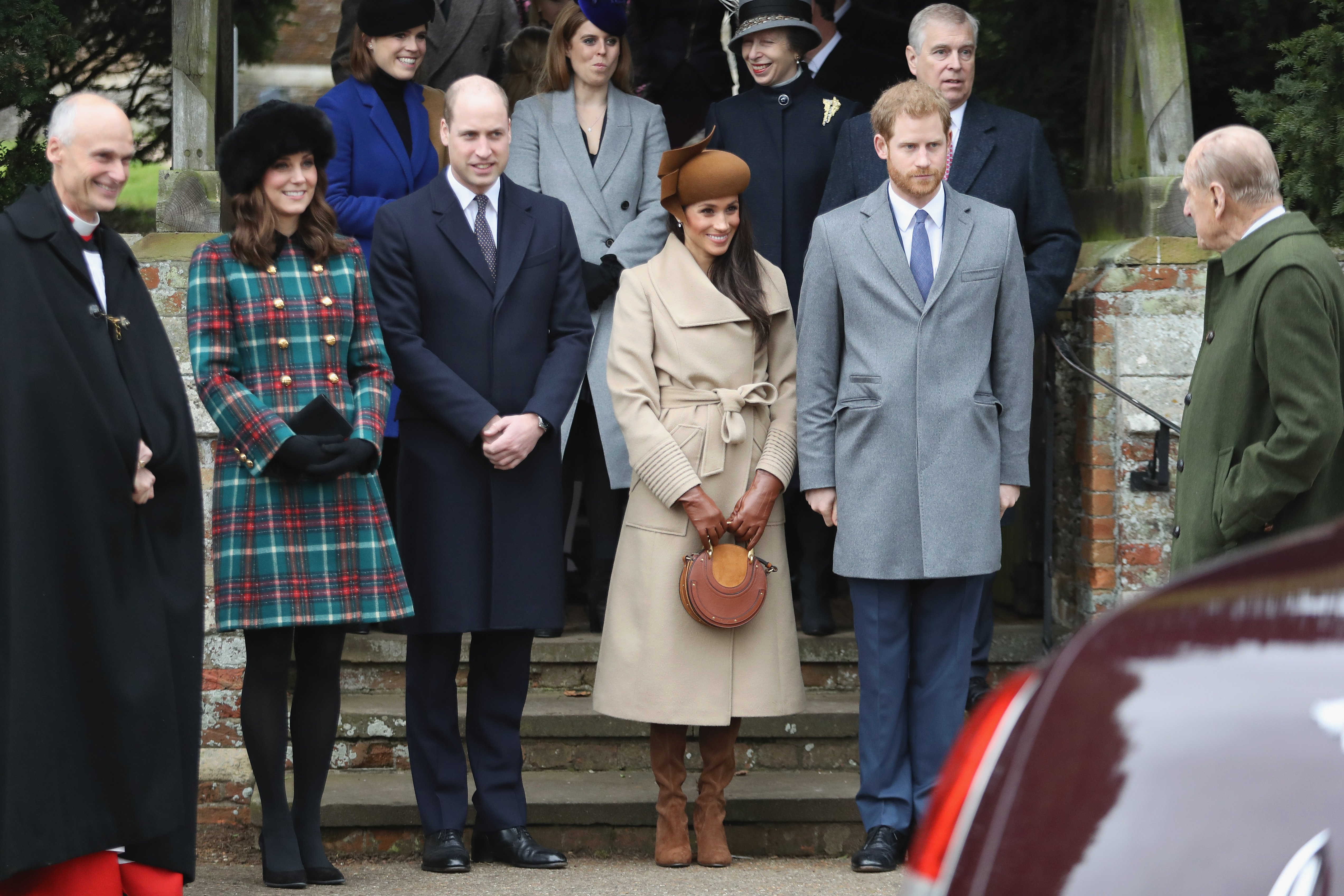 The Cambriges and Sussexes pictured together at the royal family Christmas in Sandringham, Norfolk, 2017. | Photo: Getty Images