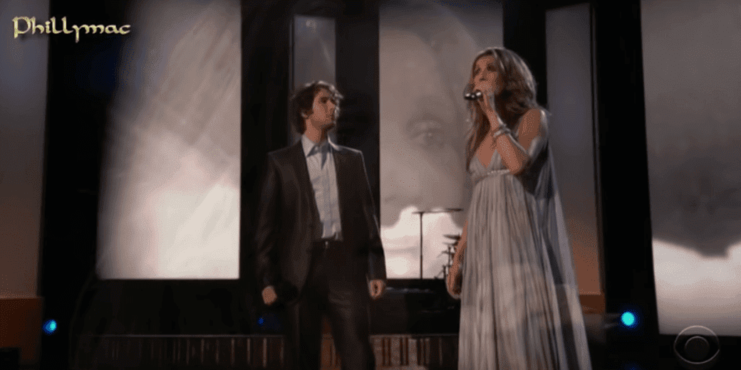 Josh Groban and Celine Dion together on stage. Image credit: YouTube/Phillymacvideos
