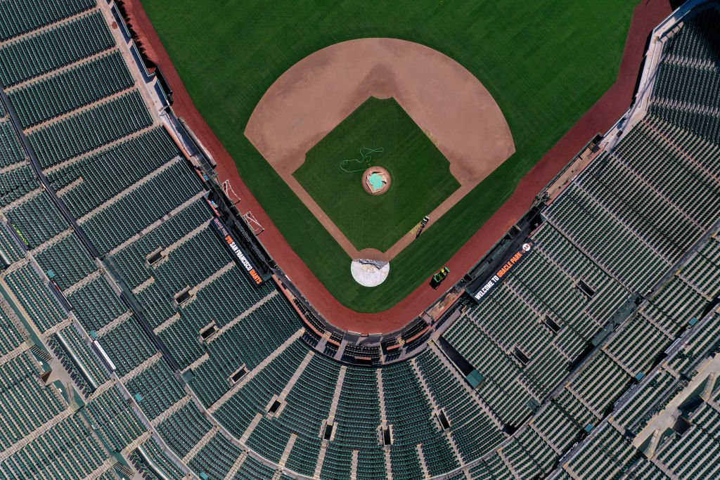 An aerial view from a drone shows Oracle Park, home of the San Francisco Giants, empty on Opening Day March 26, 2020   Photo: Getty Images