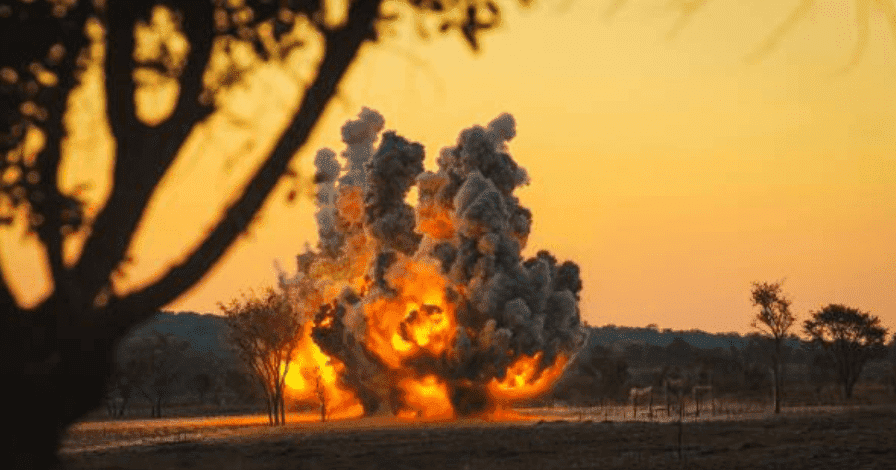 Halo Trust mine detonation, the organisation works around the country destroying live landmines,  Angola   Source: Getty Images