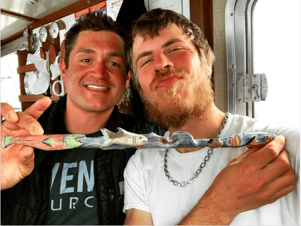Nick McGlashan and a friend, Jesse Madden show off the totem pole they made, July 13, 2020.   Photo: Instagram/Nick McGlashan.