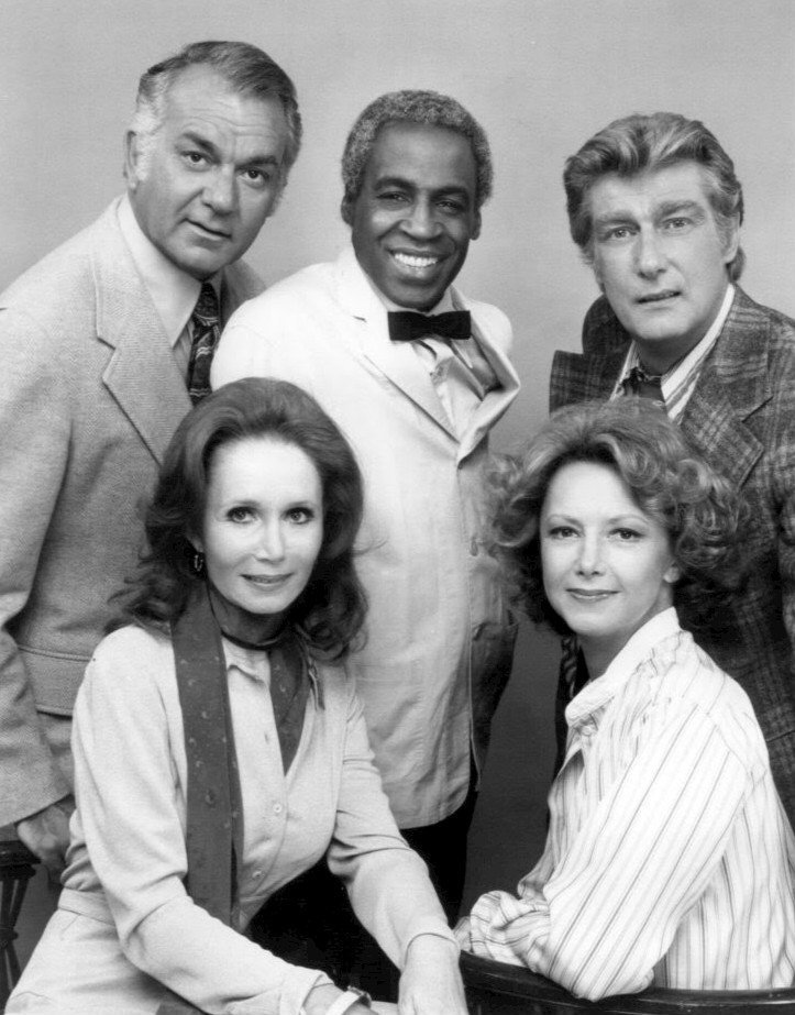 """Photo of the Campbells and Tates with Benson from the television program """"Soap"""" 