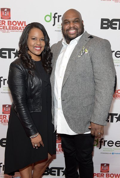 Aventer Gray and pastor John Gray attend the BET Presents Super Bowl Gospel Celebration at Lakewood Church | Photo: Getty Images