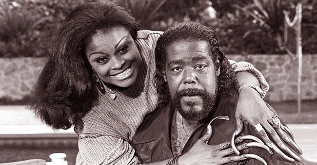 American soul singer Barry White, poses with his second wife, Glodean James, during a 1988 Los Angeles, California, photo portrait session   Photo: Getty Images