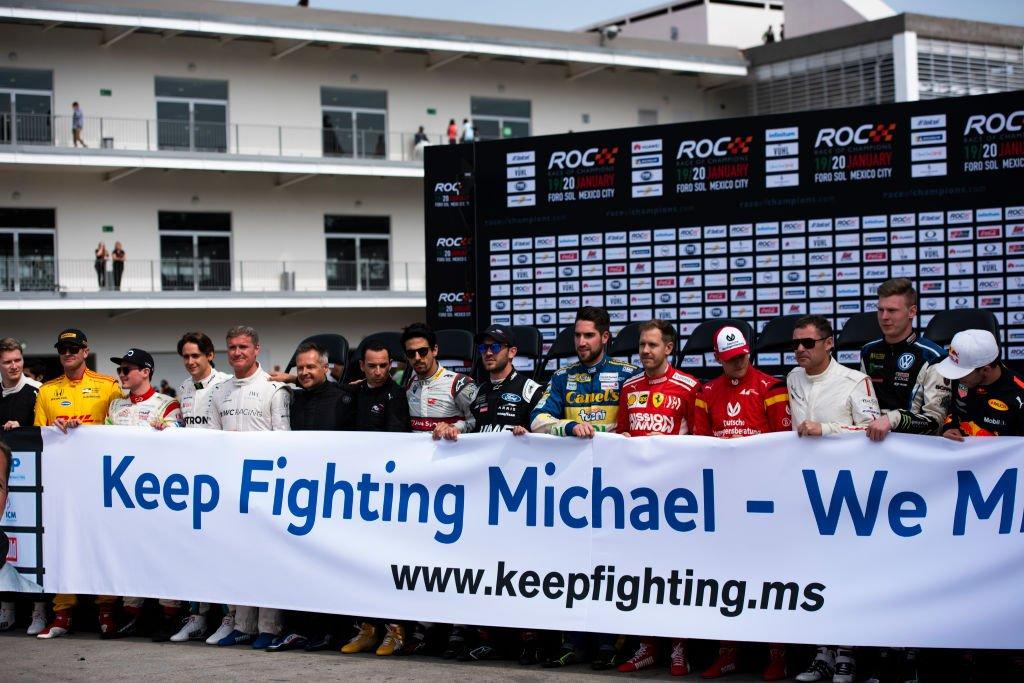L'hommage des pilotes à Michael Schumacher le 19 janvier 2019 à Mexico City. Photo : Getty Images