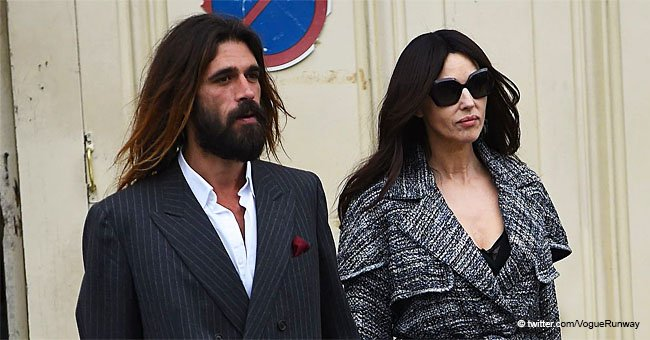 Monica Bellucci Looks Magnificent with Her Bearded Boyfriend While at Paris Fashion Week