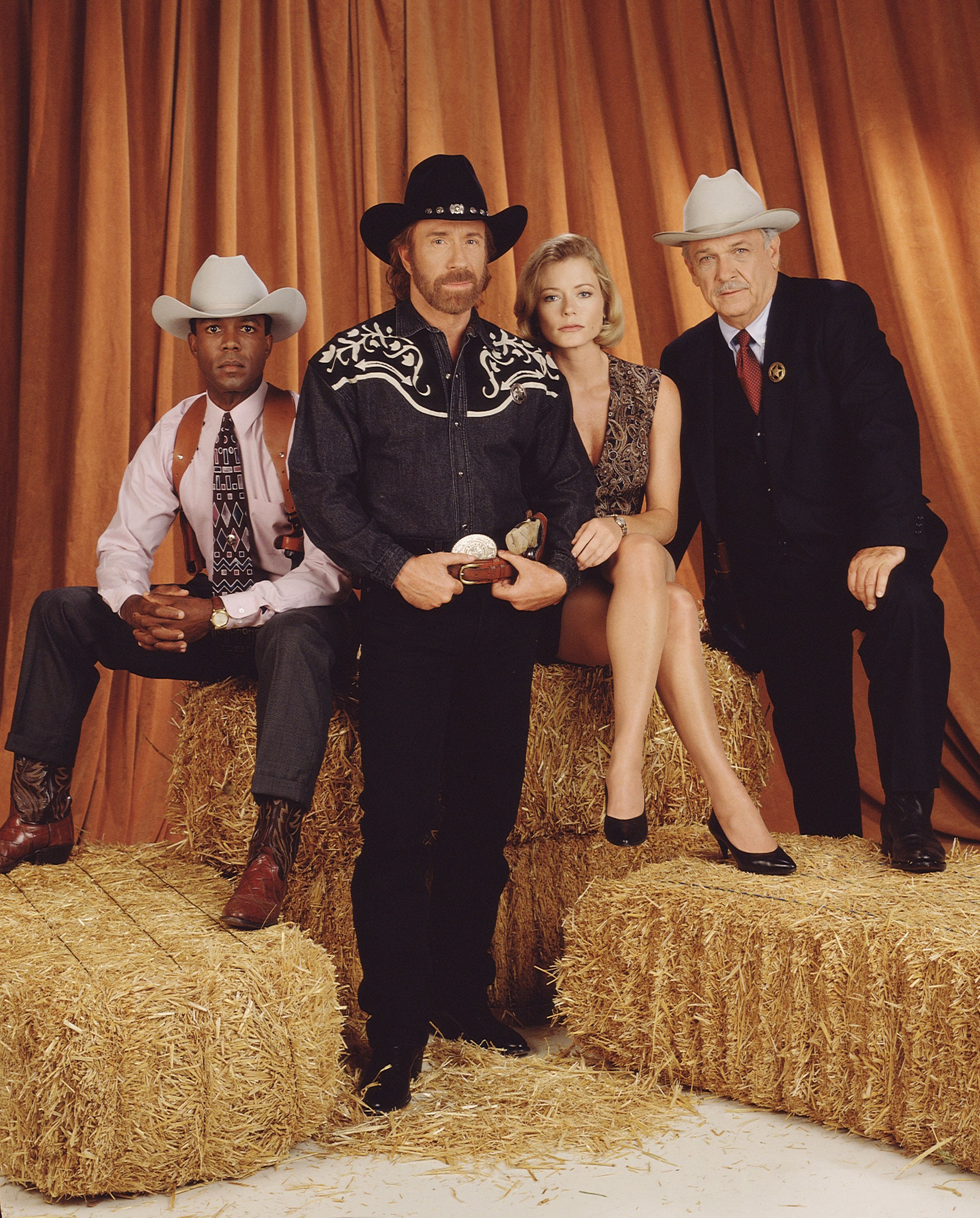 """Walker, Texas Ranger"" cast (L-R) Clarence Gilyard Jr. (as James Trivette), Chuck Norris (as Cordell Walker), Sheree J. Wilson (as Alex Cahill), and Noble Willingham (as C.D. Parker). January 1, 1995. 