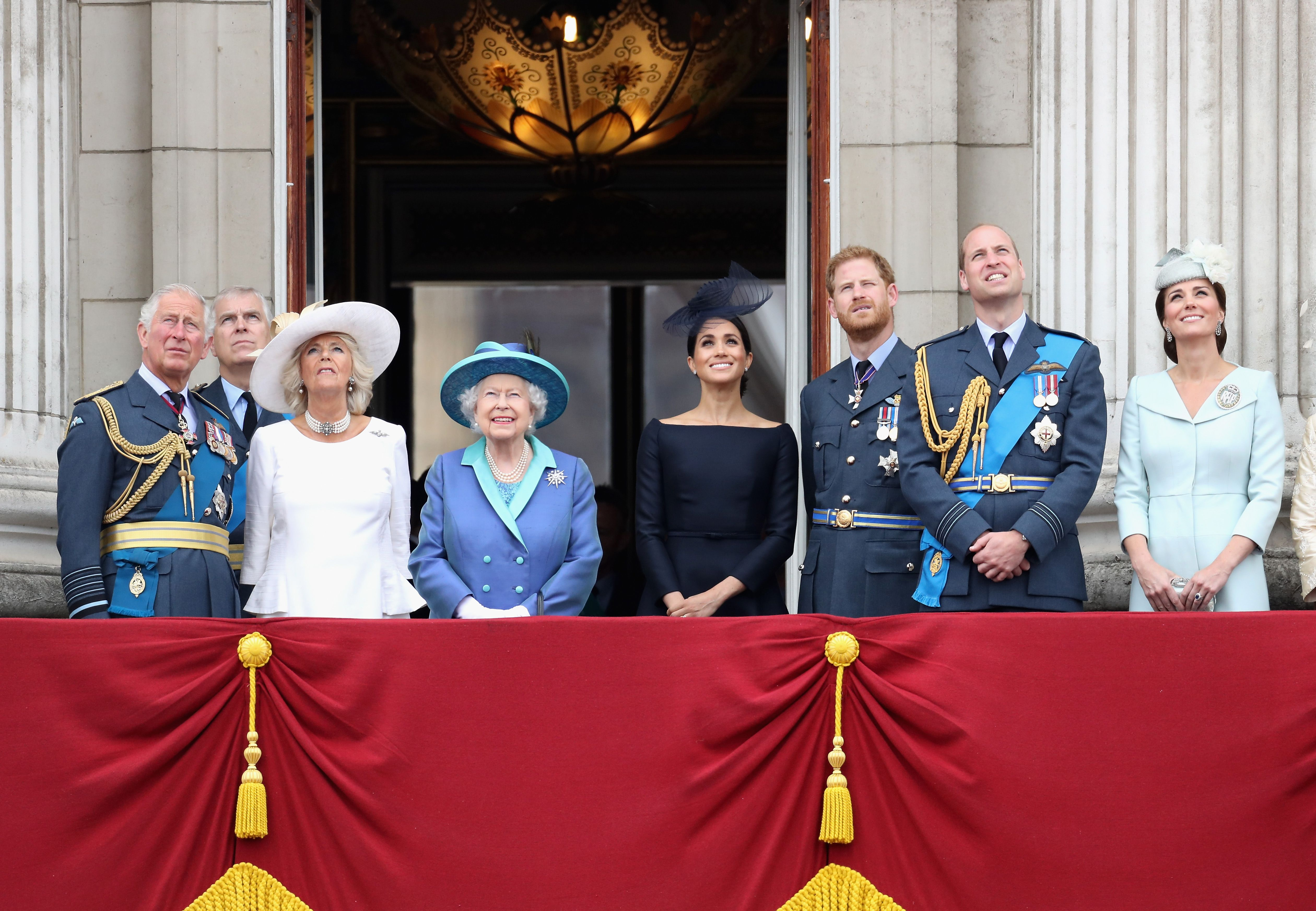 Queen Elizabeth II and other senior members of the royal family watched the RAF flypast on the balcony of Buckingham Palace on July 10, 2018 | Photo: Getty Images