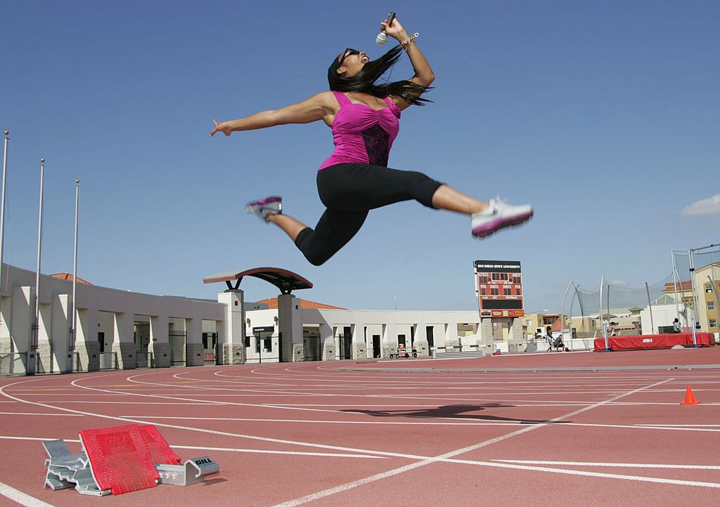 Portrait of Mary Joyner, aka M-Joy at San Diego State track on May 15, 2011.   Photo: Getty Images