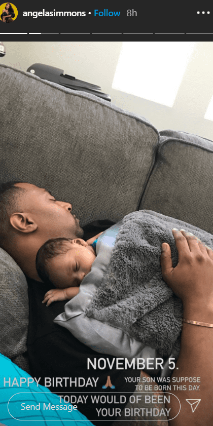 A throwback picture of Simmons' late fiancé Sutton Tennyson sleeping with a baby on his chest | Photo: Instagram/angelasimmons