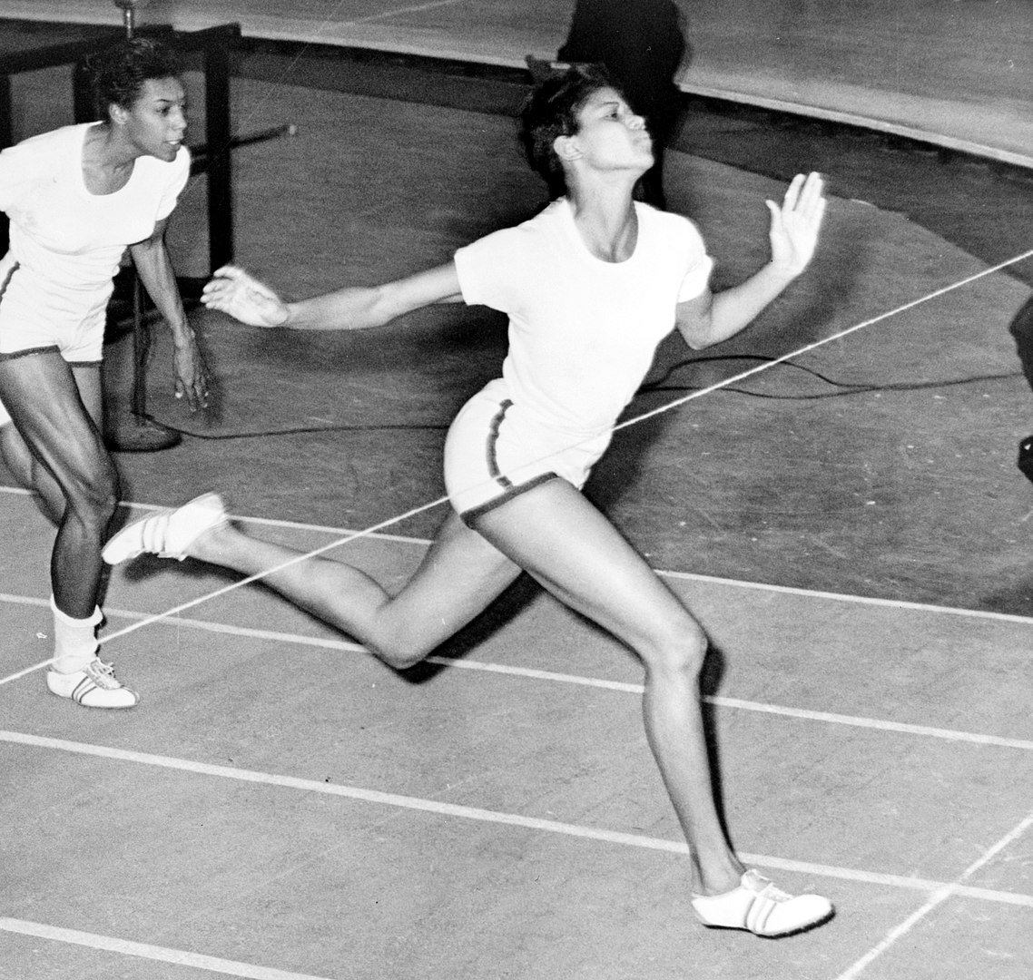 Wilma Rudolph at the finish line during the 50-yard dash at the track meet in Madison Square Garden in 1961   Photo: Wikimedia Commons Images, Public Domain,