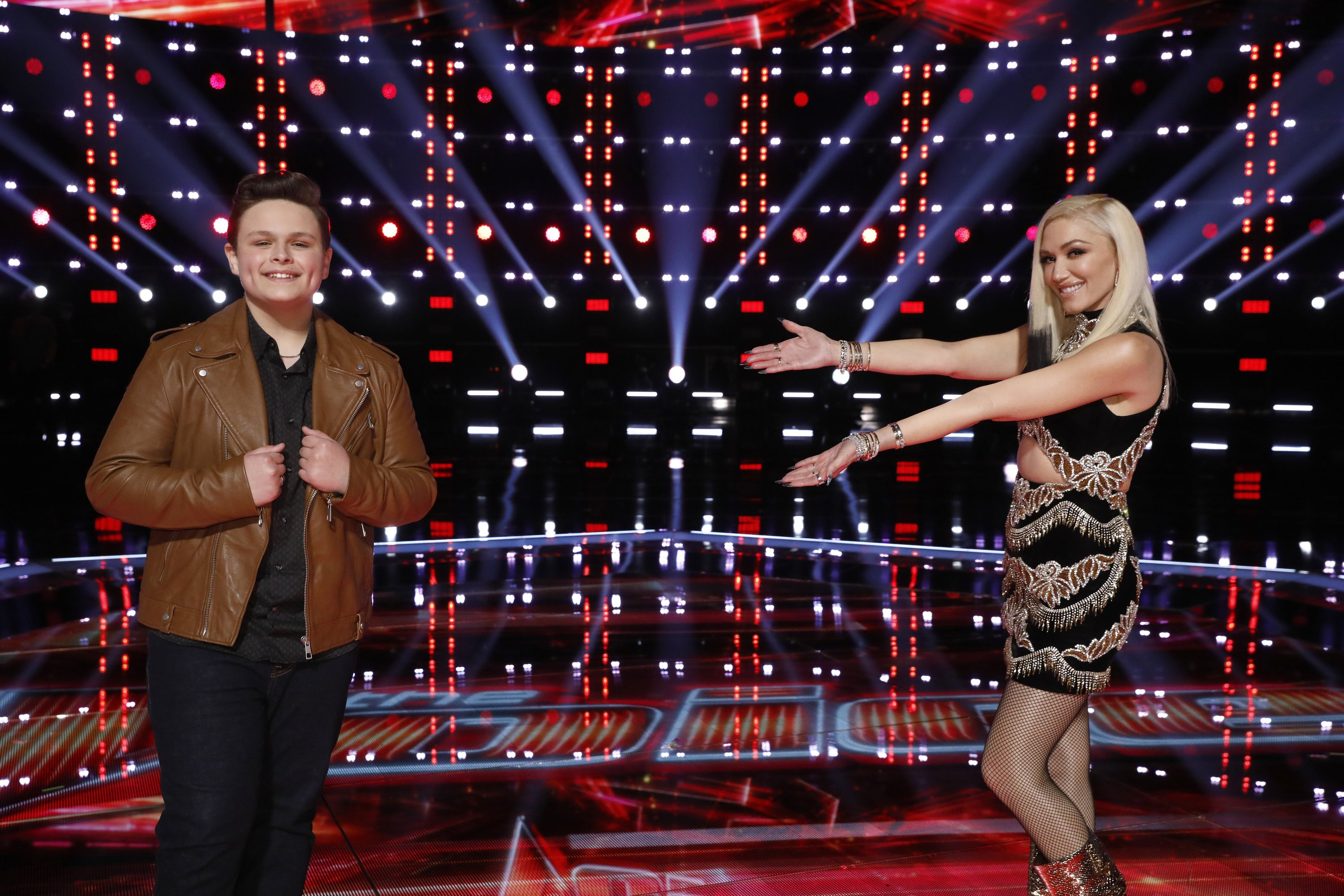 """Gwen Stefani and Rubin Carter during the Top 9 reveal of season 19 of """"The Voice.""""   Source: Getty Images."""