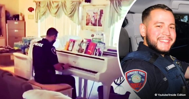 Video of Florida cop comforting distressed family by singing & playing piano still melts hearts