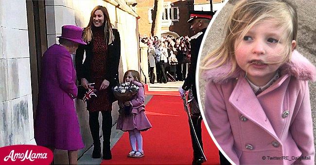 """Ein süßes kleines Mädchen """"erfror"""", weil sie eine Stunde darauf wartete, die Blumen der Queen zu schenken"""