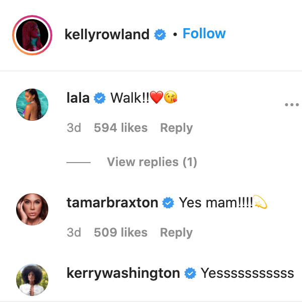 La La Anthony, Tamar Braxton, and Kerry Washington comment on Kelly Rowland's video. | Source: Instagram/kellyrowland
