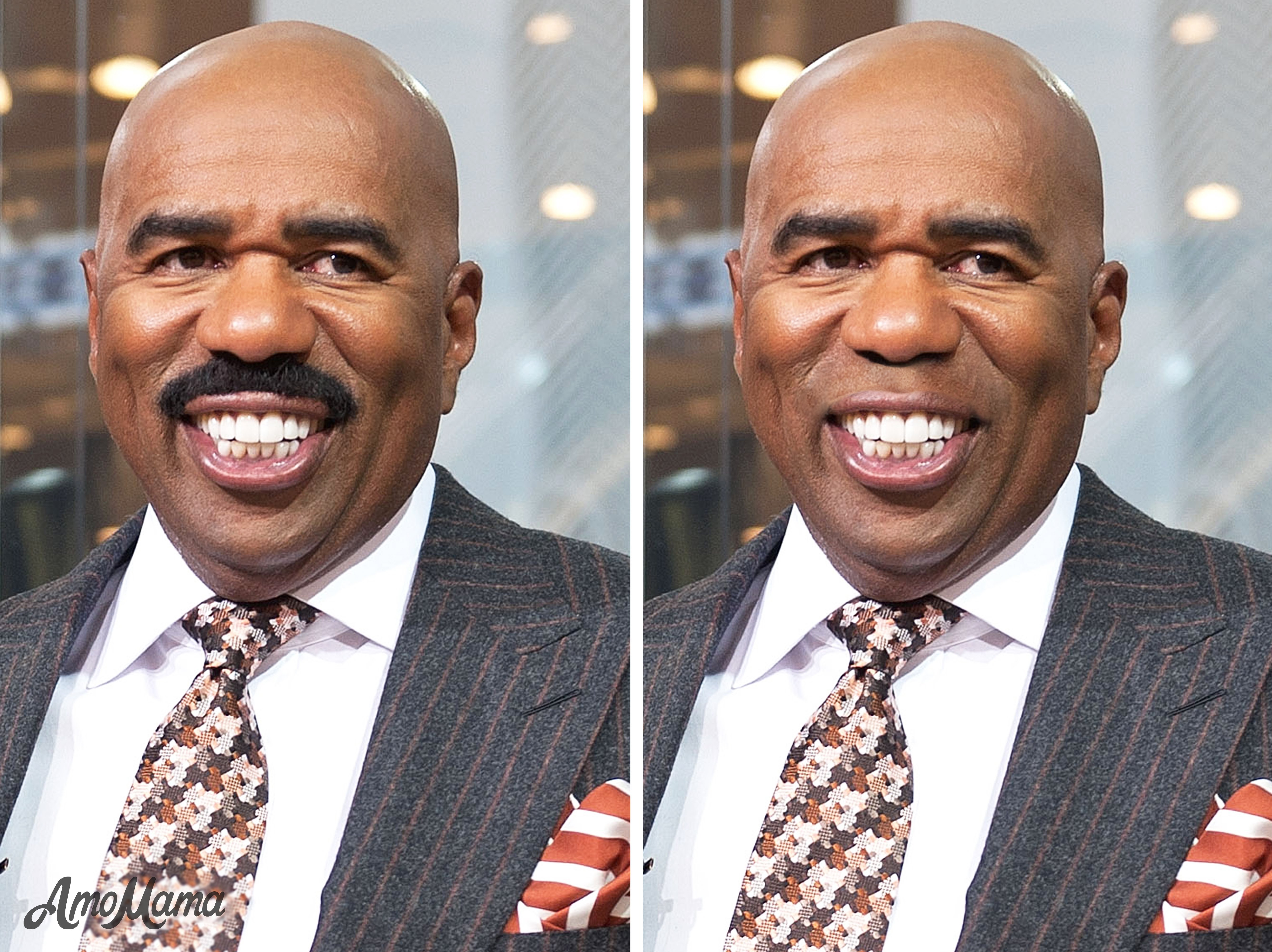 Steve Harvey's before and after moustache look | Photo: Getty Images