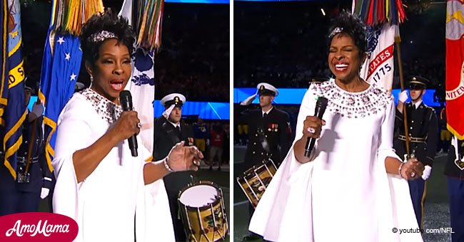 Gladys Knight bewitches crowd with her gorgeous rendition of the national anthem
